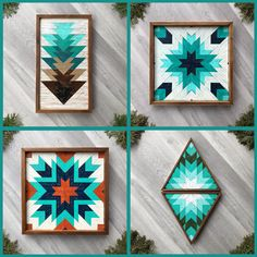 Handcrafted barn quilts and wood wall art featuring geometric quilt block patterns with turquoise and teal colors. Each wooden wall hanging is handmade and inspired by traditional quilt square designs. These are perfect for adding instant color, texture, and design to any wall space in your home. Their vibrant hand painted colors are perfect for accenting your rustic style, southwestern inspired, western aesthetic, or boho inspired decor. Visit Crow Bar D'signs to browse a wide selection.