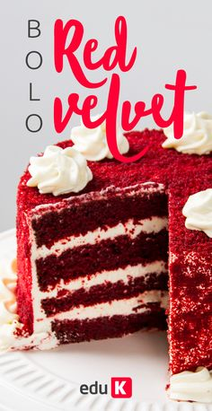 Bolo Red Velvet Receita, Occasion Cakes, Girl Cakes, Cake Cookies, Food Art, Vanilla Cake, Special Occasion, Deserts, Cooking Recipes