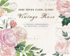 Vintage Rose ClipArt: 26 florale Elemente und von TwigsAndTwineArt