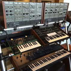 Two Roland System-100M cases arrived today! These beautiful modular systems have the sound Roland was renowned for in the early eighties, but with fully modular capabilities. Also pictured: Roland AIRA System-1, Sequential Circuits Pro-One, Oberheim OB-Xa www.switchedonaustin.com