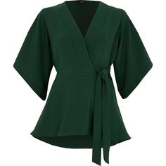 River Island Green kimono sleeve tie side wrap top ($72) ❤ liked on Polyvore featuring tops, blouses, green, women, river island, wrap top, loose tops, kimono sleeve top and v-neck tops