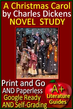 Free up your time with A Christmas Carol, a 140 page common-core aligned complete Literature Guide for the original, unabridged novel by Charles Dickens. It can be used with or without Google Drive (Paperless OR Print and Go) This guide can be used as a Print and Go, but also utilizes Google Docs for Stave Questions, Google Slides for Story Elements and Grammar, and Self-Grading Assessments through Socrative. It has everything that you will need to teach and assess the novel.
