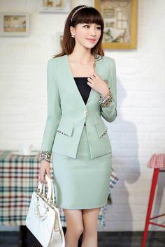 mint green skirt suit | Skirt the Ceiling | http://skirttheceiling.com