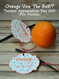 Check out this fun and healthy gift for Teacher Appreciation Day! Attach the free printable to anything orange and make a cute teacher gift.