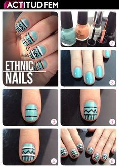 "Top 10 DIY Easy Nail Art Ideas (except the title ""ethnic nails"" is completely ridiculous) Love Nails, Fun Nails, Pretty Nails, Diy Nails Tutorial, Nail Tutorials, Nail Art Diy, Easy Nail Art, Diy Art, Nails Decoradas"