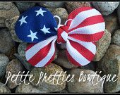 Boutique 4th of July Memorial Day Flag Butterfly Hair Bow Clip