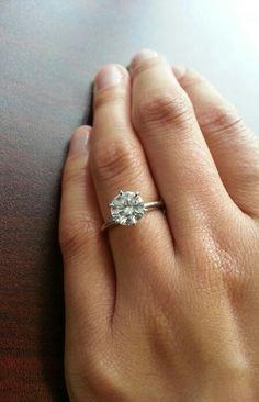 """Tiffany setting."" Platinum six prong solitaire diamond engagement ring. So classic. Beautiful."