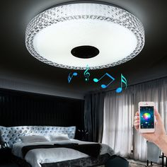 2017 New APP Bluetooth Music LED Ceiling Light Smartphone Dimming Discoloration Light Fixture LED Modern Lighting for Bedroom - ICON2 Luxury Designer Fixures  2017 #New #APP #Bluetooth #Music #LED #Ceiling #Light #Smartphone #Dimming #Discoloration #Light #Fixture #LED #Modern #Lighting #for #Bedroom