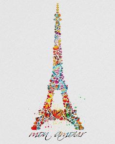 Eiffel Tower Paris Watercolor Art: