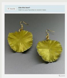 Trendy Yellow Lily Pad Aluminum Earrings Presented by #Etsy #Jewelry #Handmade #Glam https://www.etsy.com/listing/181746830