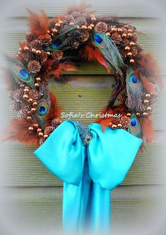 Christmas wreath with peacock feathers