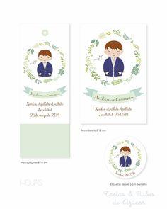 Recordatorios Primera Comunión personalizados niños First Communion, About Me Blog, Clip Art, Frame, Party, Candle, Events, Graphics, School