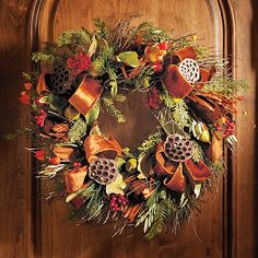 Harvest Spice Wreath. Would be beautiful all fall and I adore that it feels a little prettier than rustic.