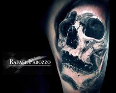 Realistic Trash Skull Tattoo by Rafael Fabozzo Eagle Tattoos, Color Tattoo, Tatting, Skull, Colors, Color Tattoos, Needle Tatting, Colour, Color