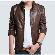 Amtify Men's PU Leather Jacket with Button Details