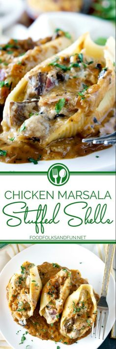 AD: Chicken Marsala Stuffed Shells with Creamy Marsala Sauce is full of concentr. - AD: Chicken Marsala Stuffed Shells with Creamy Marsala Sauce is full of concentrated, layered flavo - Crock Pot Recipes, Pasta Recipes, Chicken Recipes, Cooking Recipes, Meat Recipes, Marsala Recipe, Chicken Stuffed Shells, Stuffed Shells Recipe, Healthy Recipes