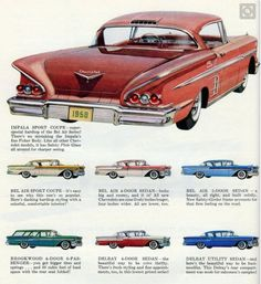 1958 Chevrolet Impala Sport Coupe Car Ad Chevy by AdVintageCom Chevrolet Bel Air, Chevrolet Impala, Motos Vintage, Vintage Motorcycles, Cars Motorcycles, Muscle Cars, Pub Vintage, Vintage Trucks, Classic Sports Cars