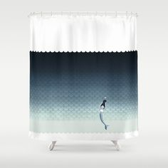 Suomu Blue scale pattern with a mermaid Shower curtain and Duvet cover Shower Curtain
