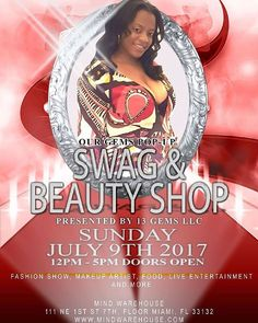 """""""Our Gems Pop Up Swag and Beauty Shop Sunday July 9th at Mind Warehouse in Miami  #miamivendors #vendorswanted #models #fashion #fashionshow #events #miami #popupshop #business #bakers #designer #barbers #hair #makeup #music #family #motivation #bossmoves #photooftheday #follow4follow #like4like #share #support"""" by @13_gems. #이벤트 #show #parties #entertainment #catering #travelling #traveler #tourism #travelingram #igtravel #europe #traveller #travelblog #tourist #travelblogger…"""