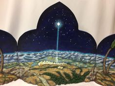 Rare Department 56 backdrop Model #59815 Holy Night Fiber Optic Wood. Piece is retired.