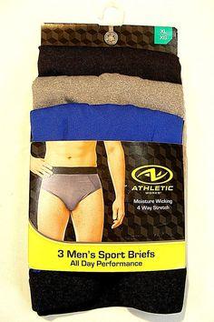 02fd9da20a4 ATHLETIC WORKS Mens Size XL (40-42) 3pk Sports Brief Multicolor NWT  fashion   clothing  shoes  accessories  mensclothing  underwear (ebay link)