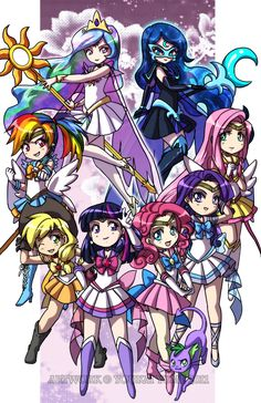 My Little Pony Characters as Sailor Senshi! Chibi Style. Size: 11x17'' Printed on: Glossy card stock paper. Artist signature upon request! *Actual product will not have watermark stamped over image.