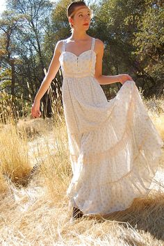 Gunne Sax Dress Vintage 70s Ivory Calico Floral Gunne Sax Prairie Boho Maxi Dress (s m). $128.00, via Etsy.