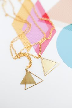 double triangle necklaces by oh my clumsy heart