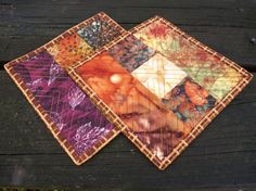 Fall Mug Rugs Coasters Autumn Leaves Reversible by atthebrightspot, $18.00