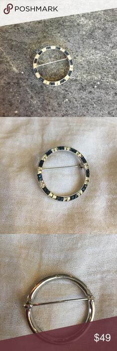 Ciner circle pin Ciner blue and rhinestone vintage circle pin. Silver toned and all stones in tact and no scratches. Great piece for scarves, hat or any day use Jewelry Brooches