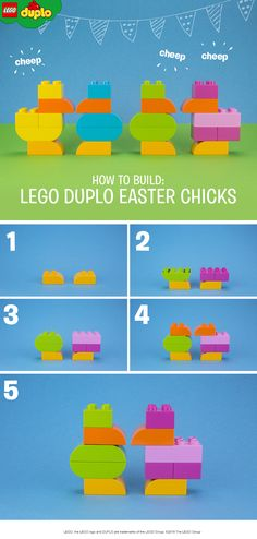 Our LEGO DUPLO chicks may not be fluffy, but they come in beautiful bright spring colors! Build them together with your kids and use any bricks you like - it doesn't matter whether they are round shaped ones or not. This build makes for a fun Easter themed play activity for toddlers – and bigger kids too. Get more colorful bricks here.