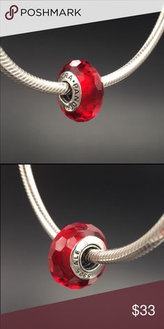 """Pandora Charm NWOT Pandora """"Fascinating Red"""" murano glass charm. Sterling silver core. Properly hallmarked S925 ALE. Pandora box not available. No trades or off-Posh transactions. Thanks and happy Poshing!! Pandora Jewelry Bracelets"""