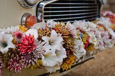 Quirky Wedding, Wedding Car, Wedding Ideas, Alternative Wedding Inspiration, Wedding Transportation, Bridal Shoot, Traditional Wedding, Floral Wreath, Autumn