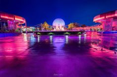 """""""Spaceship Earth, Fountain of Nations & Rain  This shot of Spaceship Earth and the Fountain of nations is a popular one and one I've done myself as well.…"""""""