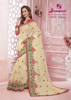 Buy this attractive white with pink brocade blouse along with fancy lace border by Look fresh, look chic! Laxmipati Sarees, Brocade Blouses, Saree Shopping, Lace Border, White Embroidery, Look Chic, Daily Wear, Bridal Collection, Kurti
