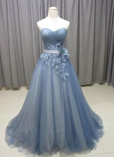Sweetheart neck gray blue tulle long senior prom dress, long evening dress with lace appliques