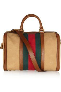 GUCCI Vintage Web leather-trimmed canvas shoulder bag