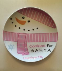 Personalized Plate Cookies for Santa - Christmas Porcelain Plate - Customized Christmas Plate with Name - Girl Snowman Plate on Etsy, $35.00