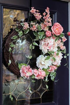 Elegant Spring wreath for front door, Peach Hydrangea wreath, Front door wreath, Spring wreaths, Mother's Day gift, wreaths for front door