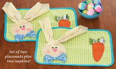 Easter Bunny and Carrot Placemats - Set of 2