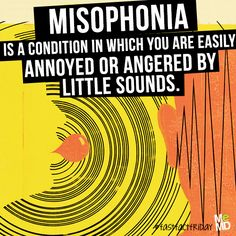 "Misophonia, literally ""hatred of sound"", is a neurological disorder in which negative experiences are triggered by specific sounds. (Such as your co-worker who eats or breathes too loudly.) #fastfactfriday #fastfacts #facts #fact #factoftheday #factfriday #misophonia #neuroscience #sound"