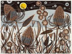 Angie Lewin~Lakeside Teasels~linocut