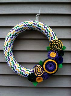 Mardi Gras Wreath Wrapped in Yellow, Green & Purple Chevron Ribbon w/ felt flowers. Easter Wreath - Mardi Gras Wreath - Ribbon Wreath via Etsy