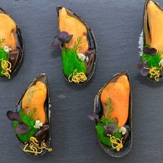 Smoked mussels, basilicum mousse, coffee, lemon #seafood