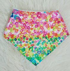 Baby Bandana Bib. Pretty. Bright Multicoloured. Floral. Flowers. Baby Bib. Baby Shower Gift. Baby Girl.