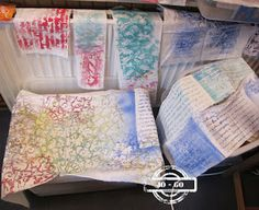 stencil prints on fabric  http://johanna-mixedmediafun.blogspot.de/2016/11/its-all-in-details.html