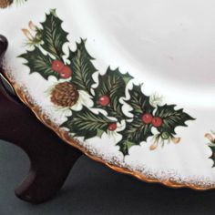 Vintage Rosina China Plates Queen's Yuletide Set of Nine Holly Berries Pinecones  at Saltymaggie's Treasures of Ruby Lane