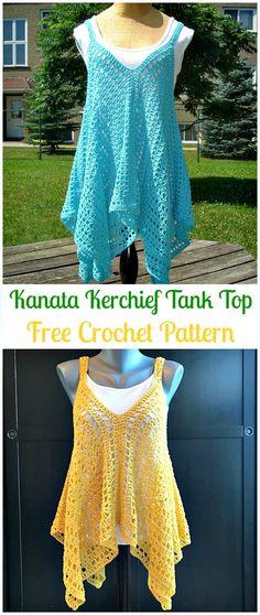 CrochetKanata Kerchief Tank Top Free Pattern - Crochet Women Sweater Pullover Top Free Patterns