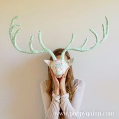 DIY paper mache deer head covered with pastel fabric - Shelterness Diy Paper, Paper Art, Paper Crafts, Paper Mache Deer Head, Making Paper Mache, Paper Mache Animals, Inspirational Artwork, Animal Heads, Diy Arts And Crafts