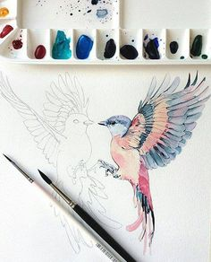 New Bird Artwork Watercolor Ideas Watercolor Bird, Watercolor Animals, Watercolor Paintings, Watercolor Ideas, Gouache Painting, Painting Art, Kunst Inspo, Art Inspo, Art And Illustration